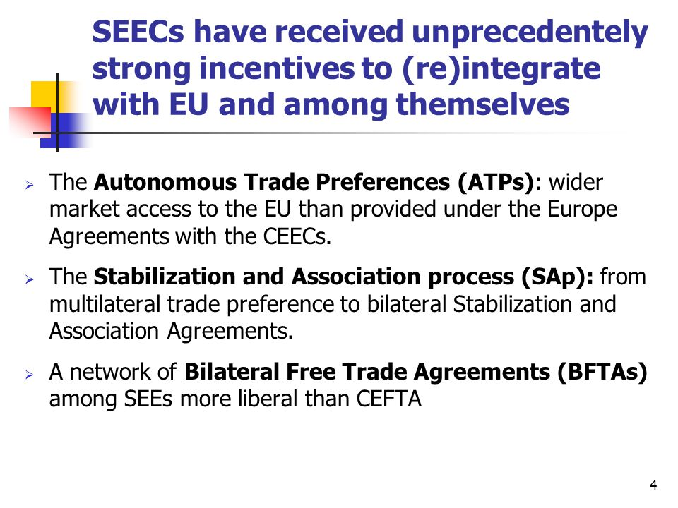 5 Overview of Trade Arrangements ATPs by the EUSAA with EUCEFTA Membership WTO Membership Bilateral FTAs with SEEs* Albania Yes Negotiating SAA Yes8 BIH YesFeasibility Study completed No7 Bulgaria Yes 7 Croatia Yes 7 Macedonia YesNegotiating Yes7 FR Yugoslavia Yes Feasibility Study being prepared No7 Romania Yes 7 ATP: Autonomous Trade Preference, SAA=Stabilization and Association Agreement, EA=Europe Agreement, CEFTA= Central Europe Free Trade Area, * Dec.