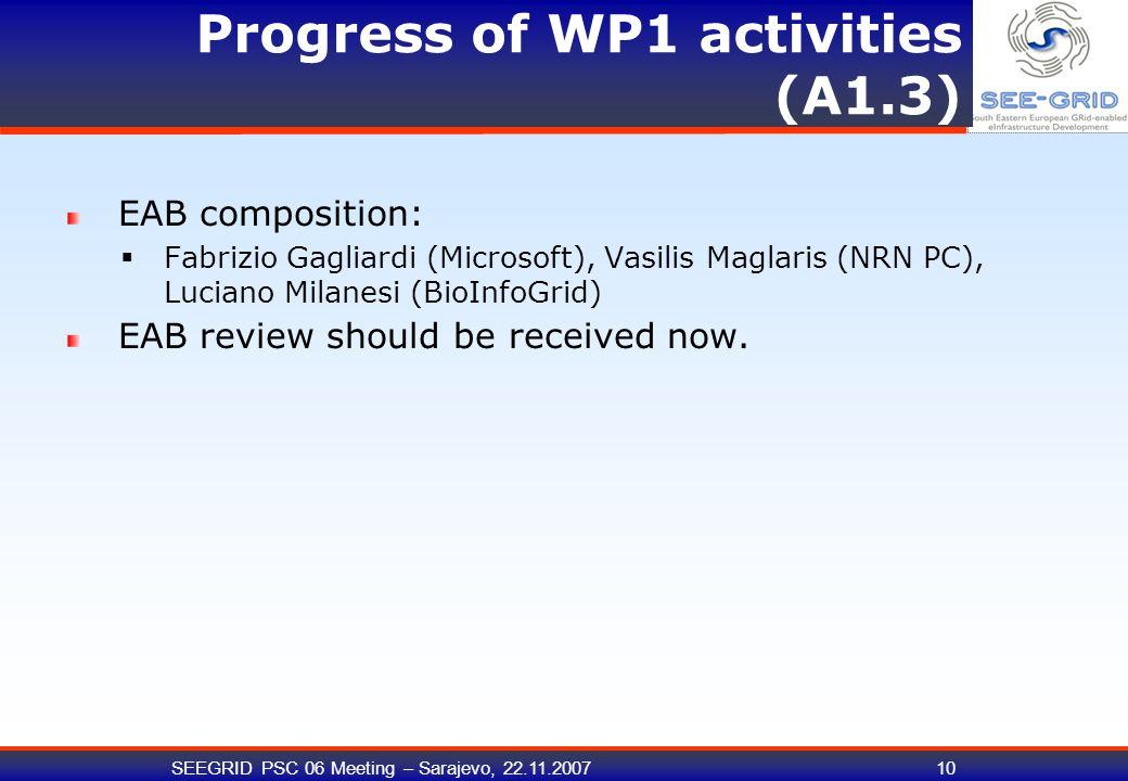SEEGRID PSC 06 Meeting – Sarajevo, 22.11.200710 Progress of WP1 activities (A1.3) EAB composition:  Fabrizio Gagliardi (Microsoft), Vasilis Maglaris (NRN PC), Luciano Milanesi (BioInfoGrid) EAB review should be received now.