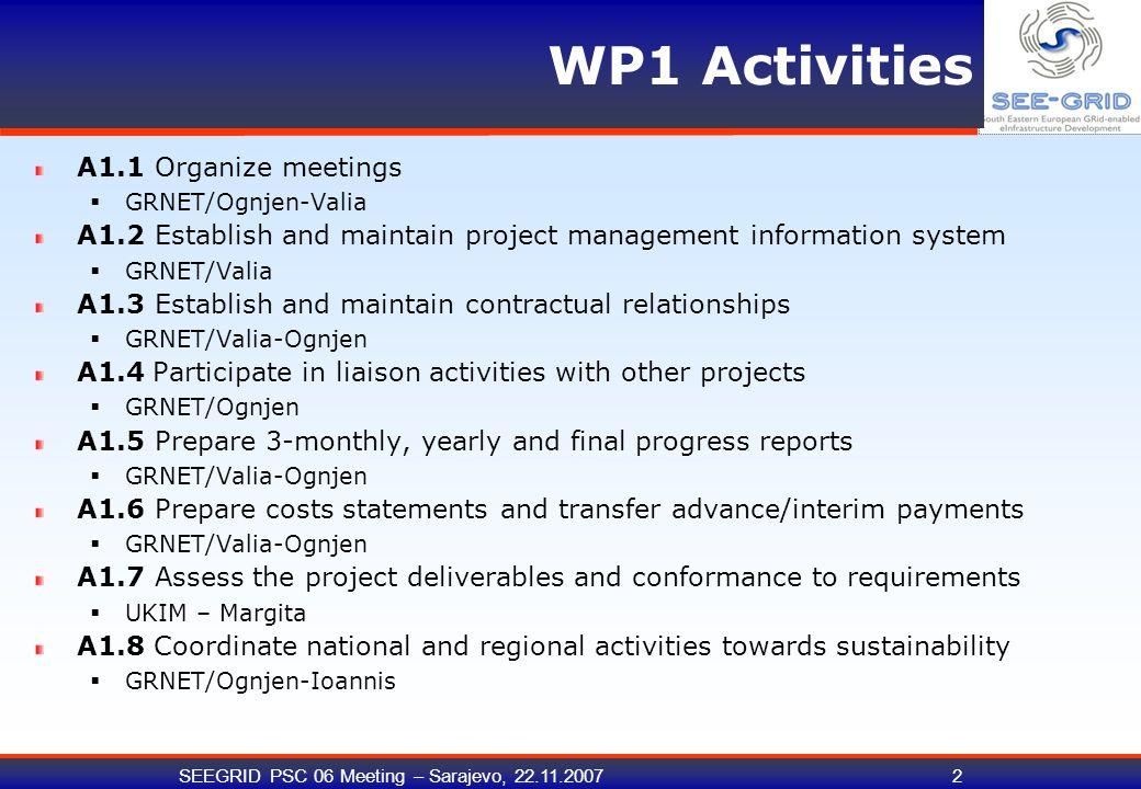 SEEGRID PSC 06 Meeting – Sarajevo, 22.11.20073 WP1 Timeline - Milestones D1.1 is a living document.