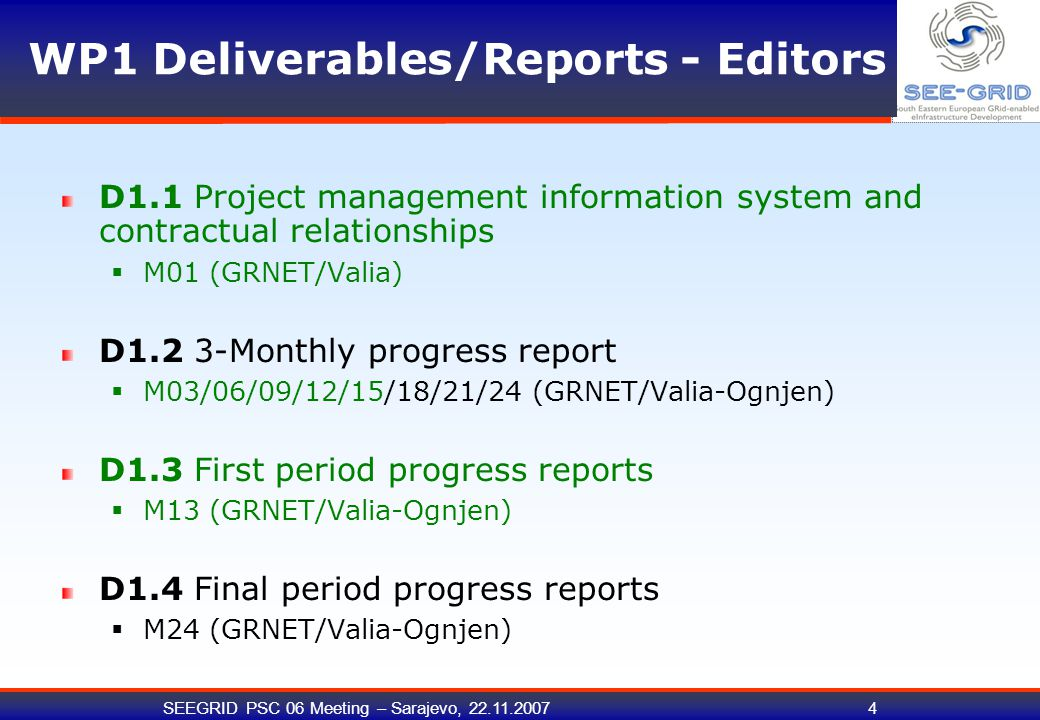 SEEGRID PSC 06 Meeting – Sarajevo, 22.11.200715 Progress of WP1 activities (A1.6) A1.6: Cost statement preparation and the transferring of pre-financing to contractors as per EC contract and Project consortium agreement guidelines