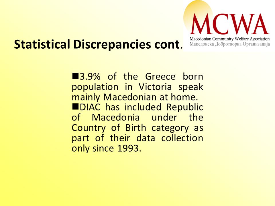 Statistical Discrepancies cont. 3.9% of the Greece born population in Victoria speak mainly Macedonian at home. DIAC has included Republic of Macedoni