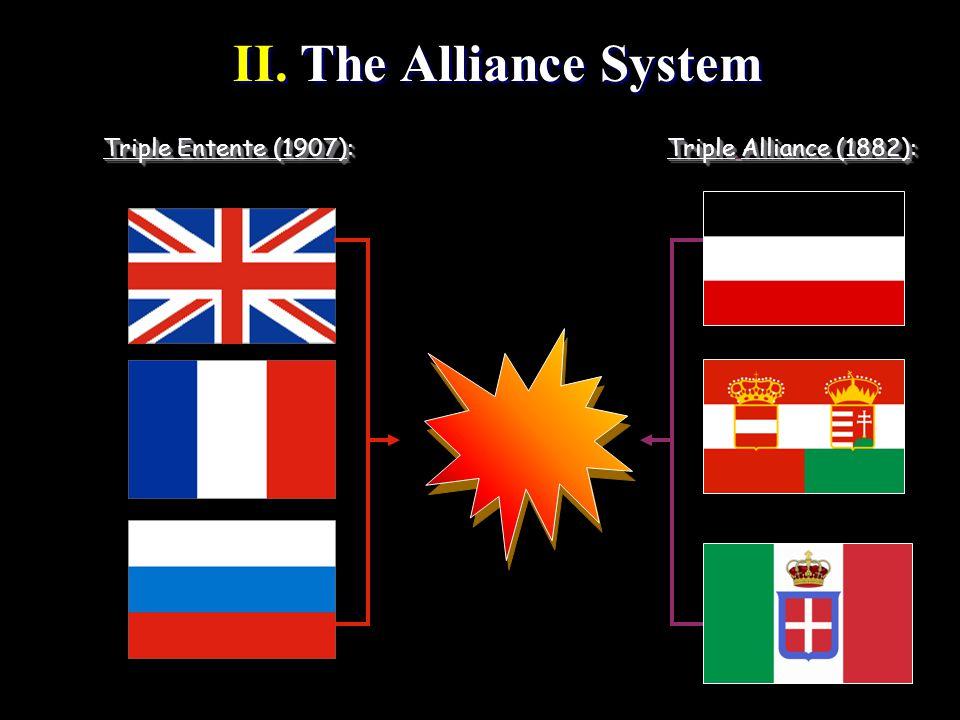 II. The Alliance System II. The Alliance System Triple Entente (1907): Triple Alliance (1882):