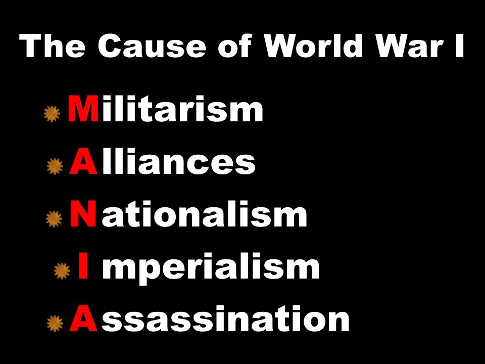 M A N I A ilitarism lliances ationalism mperialism ssassination The Cause of World War I