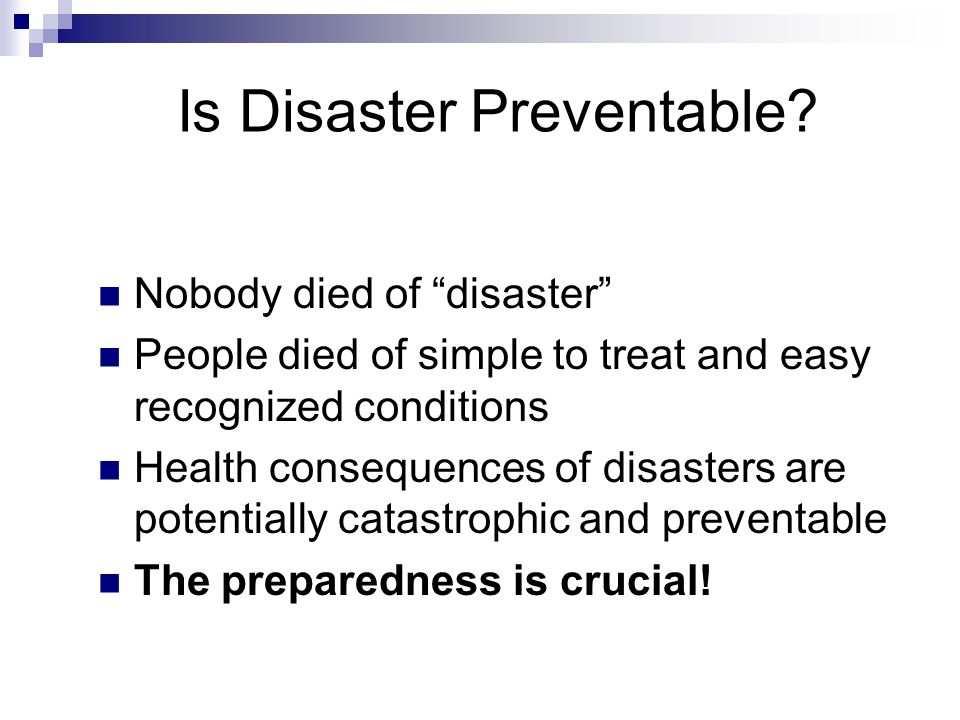 Is Disaster Preventable.