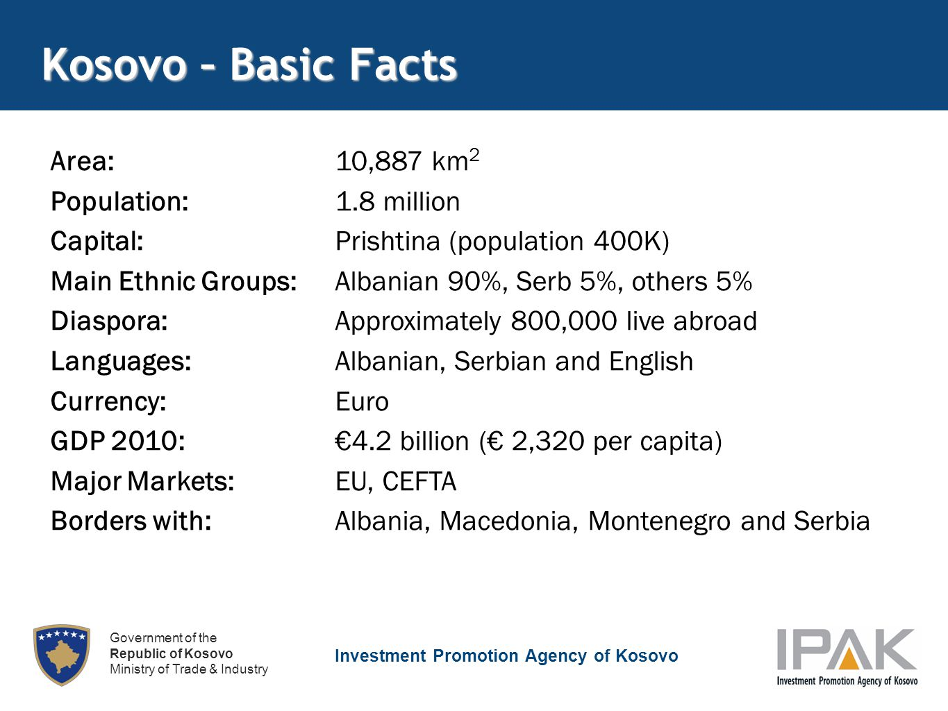 Investment Promotion Agency of Kosovo Government of the Republic of Kosovo Ministry of Trade & Industry Kosovo – Basic Facts Area:10,887 km 2 Population:1.8 million Capital:Prishtina (population 400K) Main Ethnic Groups:Albanian 90%, Serb 5%, others 5% Diaspora:Approximately 800,000 live abroad Languages:Albanian, Serbian and English Currency:Euro GDP 2010: €4.2 billion (€ 2,320 per capita) Major Markets:EU, CEFTA Borders with:Albania, Macedonia, Montenegro and Serbia