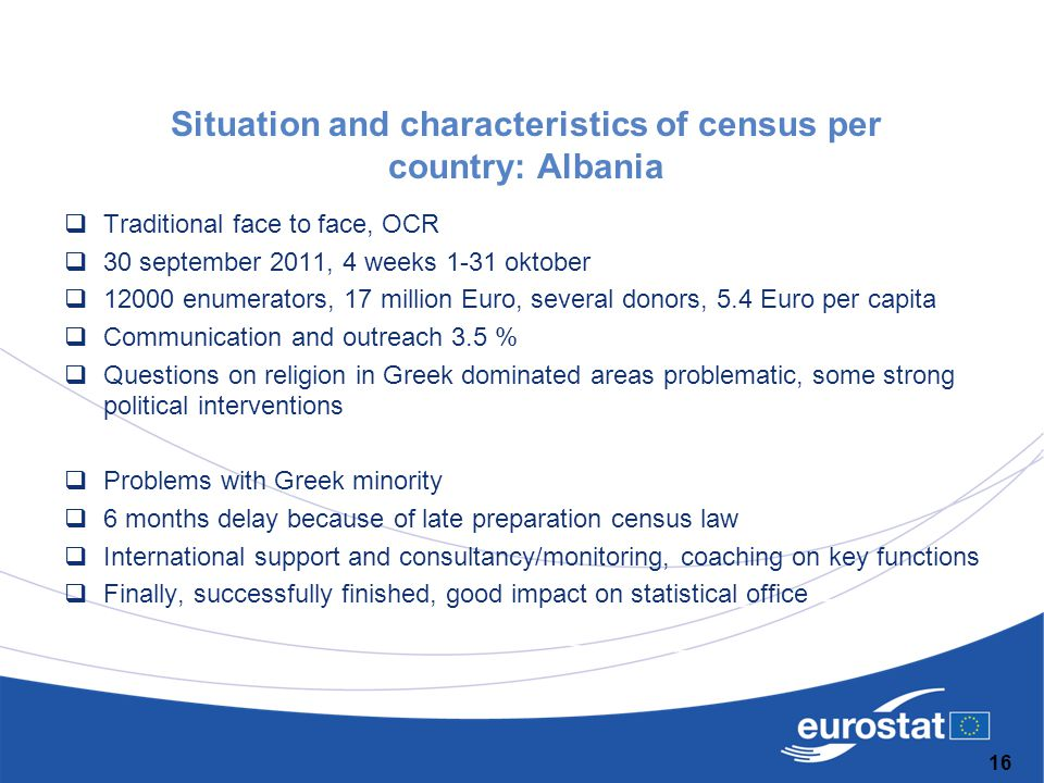 Situation and characteristics of census per country: Albania  Traditional face to face, OCR  30 september 2011, 4 weeks 1-31 oktober  12000 enumera