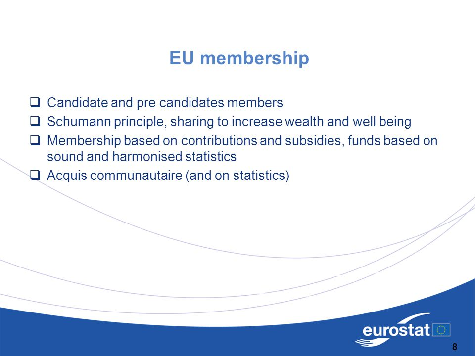 EU membership  Candidate and pre candidates members  Schumann principle, sharing to increase wealth and well being  Membership based on contributio