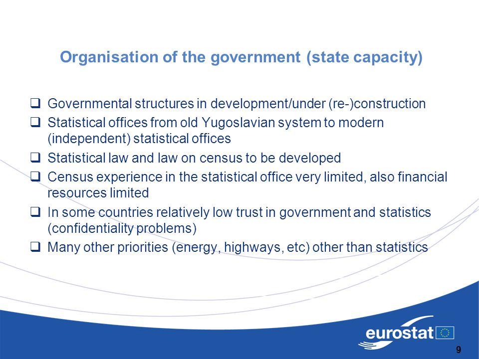 Organisation of the government (state capacity)  Governmental structures in development/under (re-)construction  Statistical offices from old Yugosl