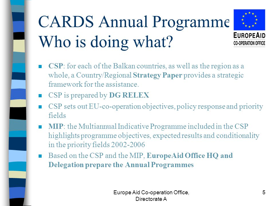 Europe Aid Co-operation Office, Directorate A 5 CARDS Annual Programmes - Who is doing what.