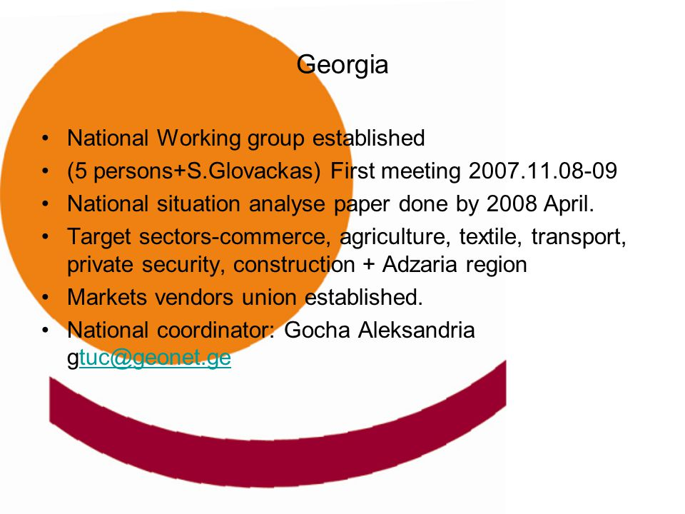 Georgia National Working group established (5 persons+S.Glovackas) First meeting 2007.11.08-09 National situation analyse paper done by 2008 April. Ta