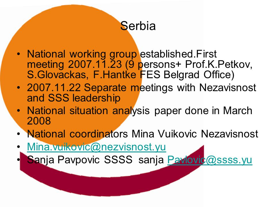 Serbia National working group established.First meeting 2007.11.23 (9 persons+ Prof.K.Petkov, S.Glovackas, F.Hantke FES Belgrad Office) 2007.11.22 Sep