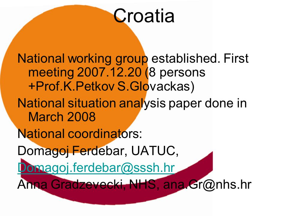 Croatia National working group established. First meeting 2007.12.20 (8 persons +Prof.K.Petkov S.Glovackas) National situation analysis paper done in
