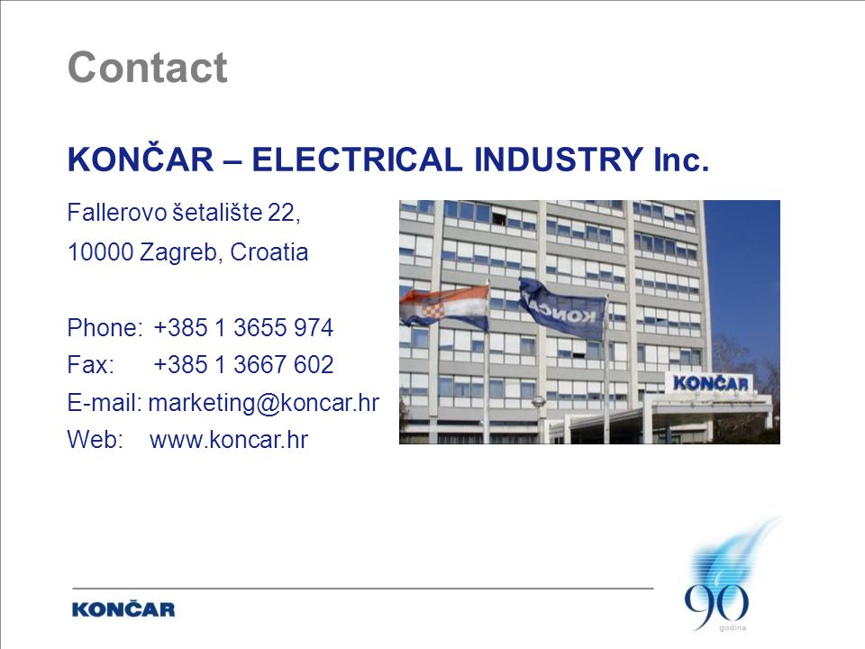 Contact KONČAR – ELECTRICAL INDUSTRY Inc.