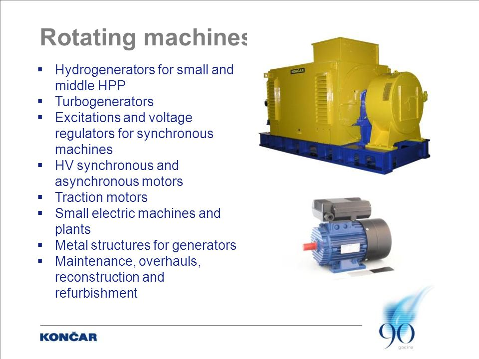Rotating machines  Hydrogenerators for small and middle HPP  Turbogenerators  Excitations and voltage regulators for synchronous machines  HV synchronous and asynchronous motors  Traction motors  Small electric machines and plants  Metal structures for generators  Maintenance, overhauls, reconstruction and refurbishment