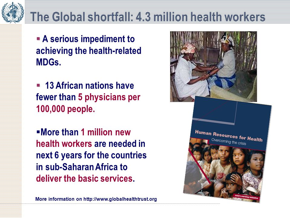 The Global shortfall: 4.3 million health workers   A serious impediment to achieving the health-related MDGs.