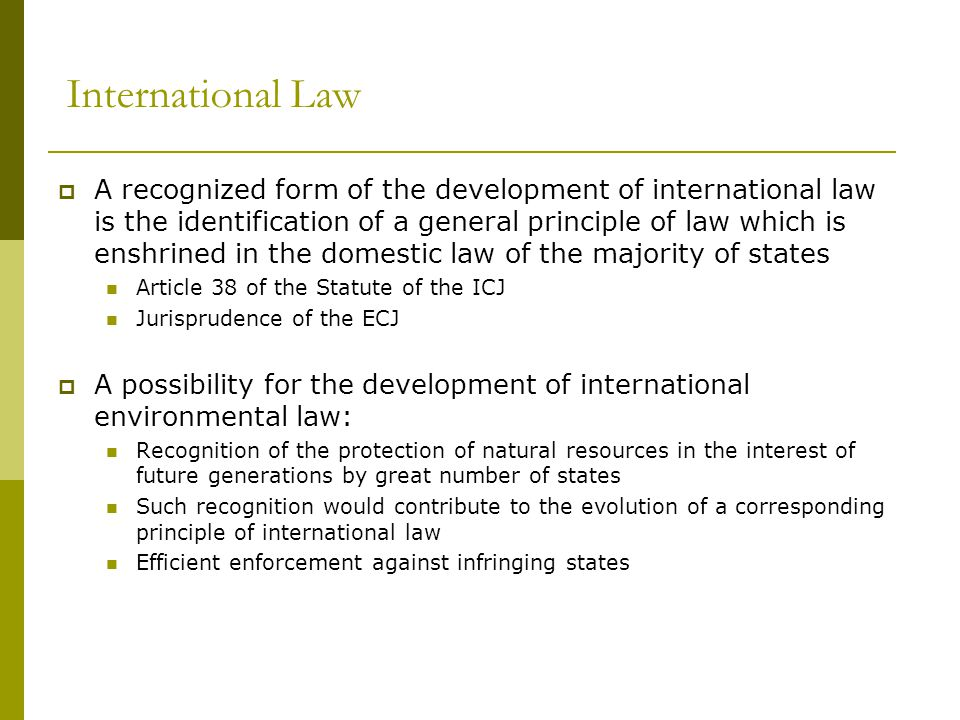 International Law  A recognized form of the development of international law is the identification of a general principle of law which is enshrined in the domestic law of the majority of states Article 38 of the Statute of the ICJ Jurisprudence of the ECJ  A possibility for the development of international environmental law: Recognition of the protection of natural resources in the interest of future generations by great number of states Such recognition would contribute to the evolution of a corresponding principle of international law Efficient enforcement against infringing states