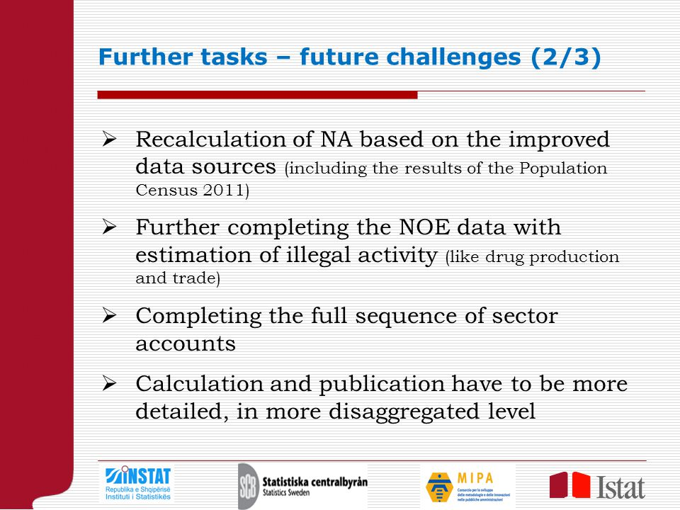 Further tasks – future challenges (2/3)  Recalculation of NA based on the improved data sources (including the results of the Population Census 2011)  Further completing the NOE data with estimation of illegal activity (like drug production and trade)  Completing the full sequence of sector accounts  Calculation and publication have to be more detailed, in more disaggregated level