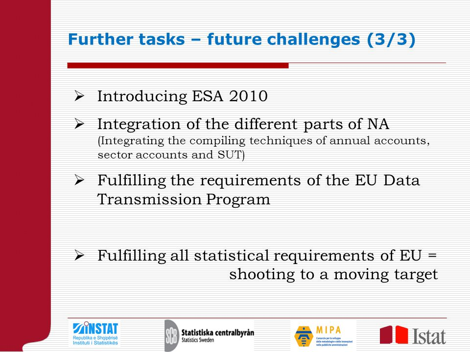 Further tasks – future challenges (3/3)  Introducing ESA 2010  Integration of the different parts of NA (Integrating the compiling techniques of annual accounts, sector accounts and SUT)  Fulfilling the requirements of the EU Data Transmission Program  Fulfilling all statistical requirements of EU = shooting to a moving target