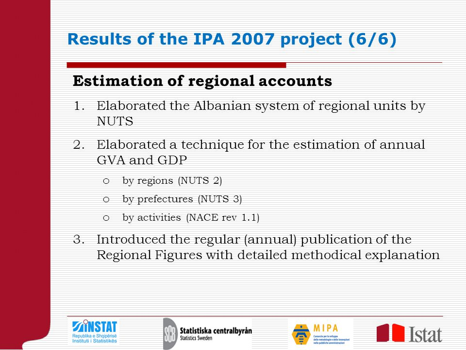 Results of the IPA 2007 project (6/6) Estimation of regional accounts 1.Elaborated the Albanian system of regional units by NUTS 2.Elaborated a technique for the estimation of annual GVA and GDP o by regions (NUTS 2) o by prefectures (NUTS 3) o by activities (NACE rev 1.1) 3.Introduced the regular (annual) publication of the Regional Figures with detailed methodical explanation