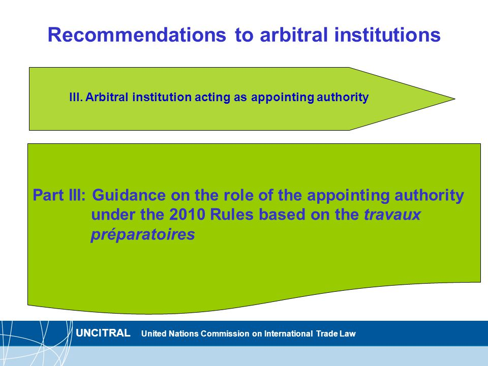 UNCITRAL United Nations Commission on International Trade Law Recommendations to arbitral institutions Part III: Guidance on the role of the appointing authority under the 2010 Rules based on the travaux préparatoires III.