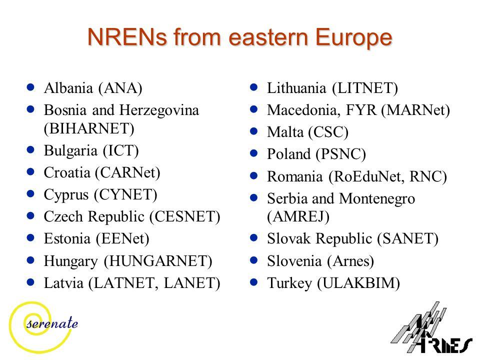 NRENs from eastern Europe  Albania (ANA)  Bosnia and Herzegovina (BIHARNET)  Bulgaria (ICT)  Croatia (CARNet)  Cyprus (CYNET)  Czech Republic (CESNET)  Estonia (EENet)  Hungary (HUNGARNET)  Latvia (LATNET, LANET)  Lithuania (LITNET)  Macedonia, FYR (MARNet)  Malta (CSC)  Poland (PSNC)  Romania (RoEduNet, RNC)  Serbia and Montenegro (AMREJ)  Slovak Republic (SANET)  Slovenia (Arnes)  Turkey (ULAKBIM)