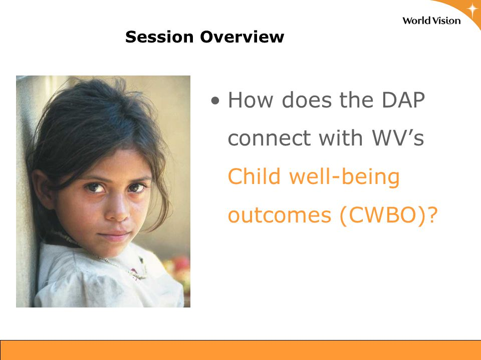 Session Overview How does the DAP connect with WV's Child well-being outcomes (CWBO)? 15