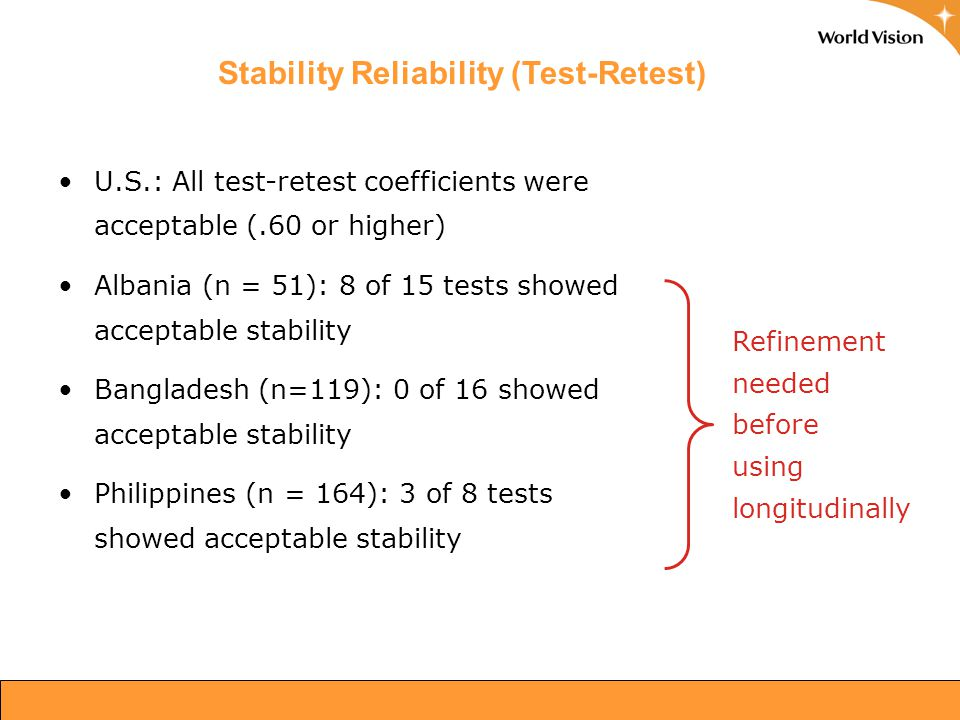 Stability Reliability (Test-Retest) U.S.: All test-retest coefficients were acceptable (.60 or higher) Albania (n = 51): 8 of 15 tests showed acceptab
