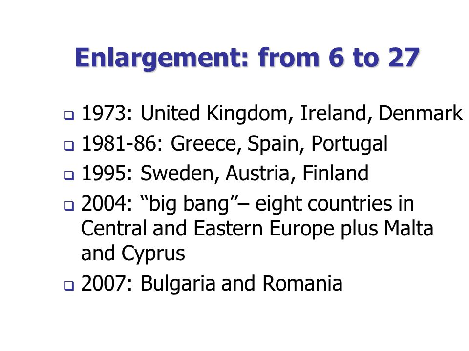 Enlargement: from 6 to 27  1973: United Kingdom, Ireland, Denmark  1981-86: Greece, Spain, Portugal  1995: Sweden, Austria, Finland  2004: big bang – eight countries in Central and Eastern Europe plus Malta and Cyprus  2007: Bulgaria and Romania