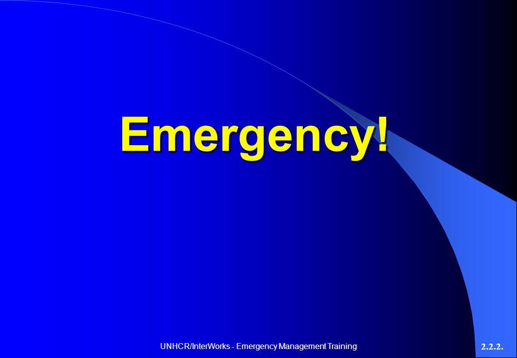 UNHCR/InterWorks - Emergency Management Training 2.2.2. Emergency!