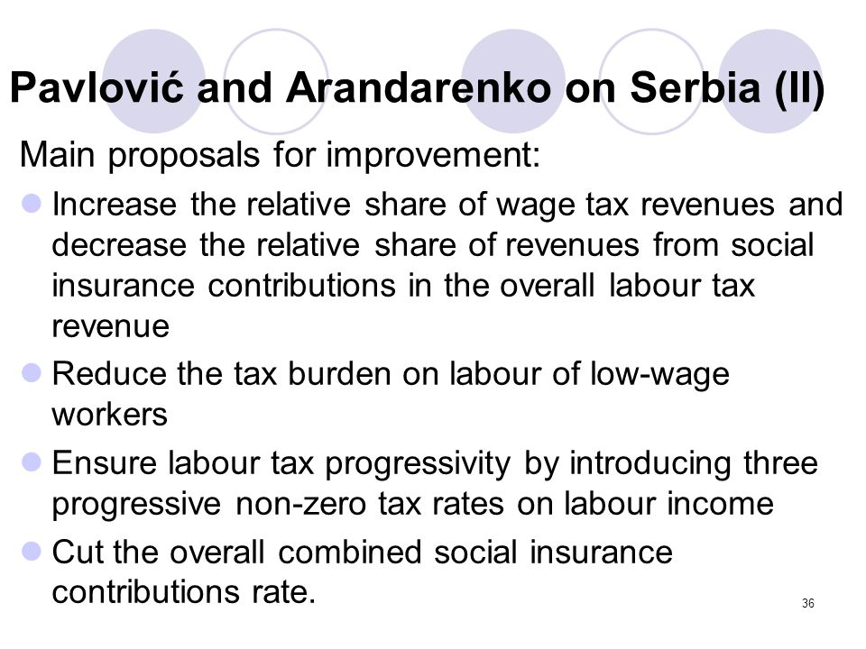Pavlović and Arandarenko on Serbia (II) Main proposals for improvement: Increase the relative share of wage tax revenues and decrease the relative sha