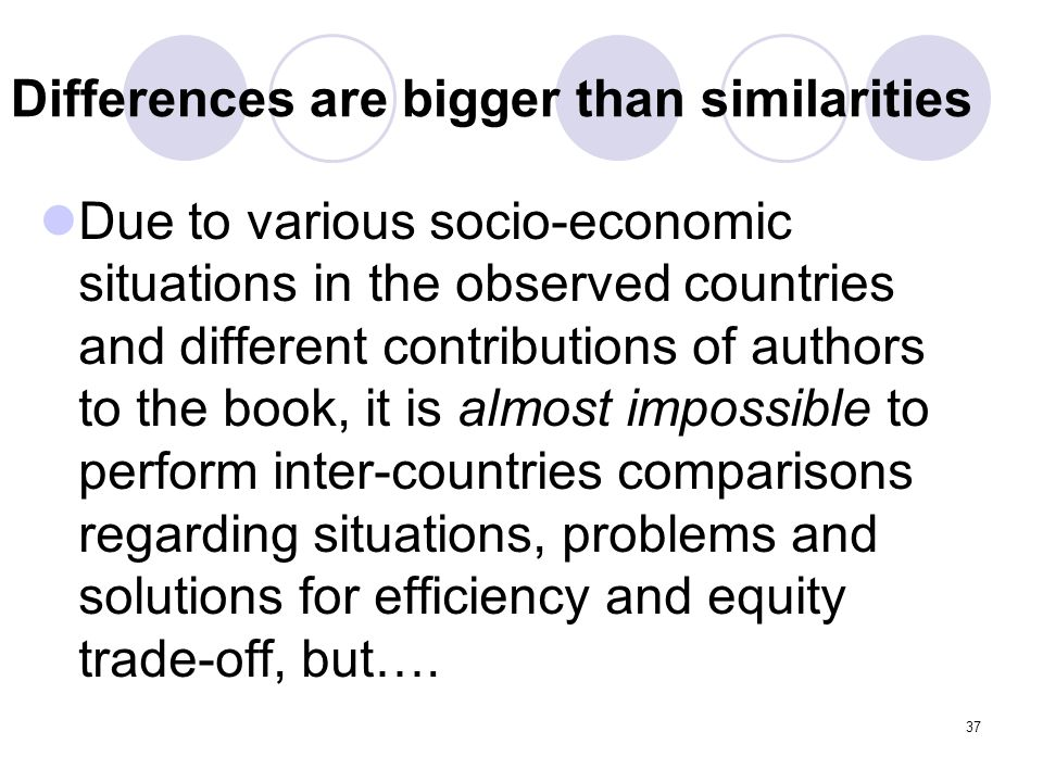 Differences are bigger than similarities Due to various socio-economic situations in the observed countries and different contributions of authors to