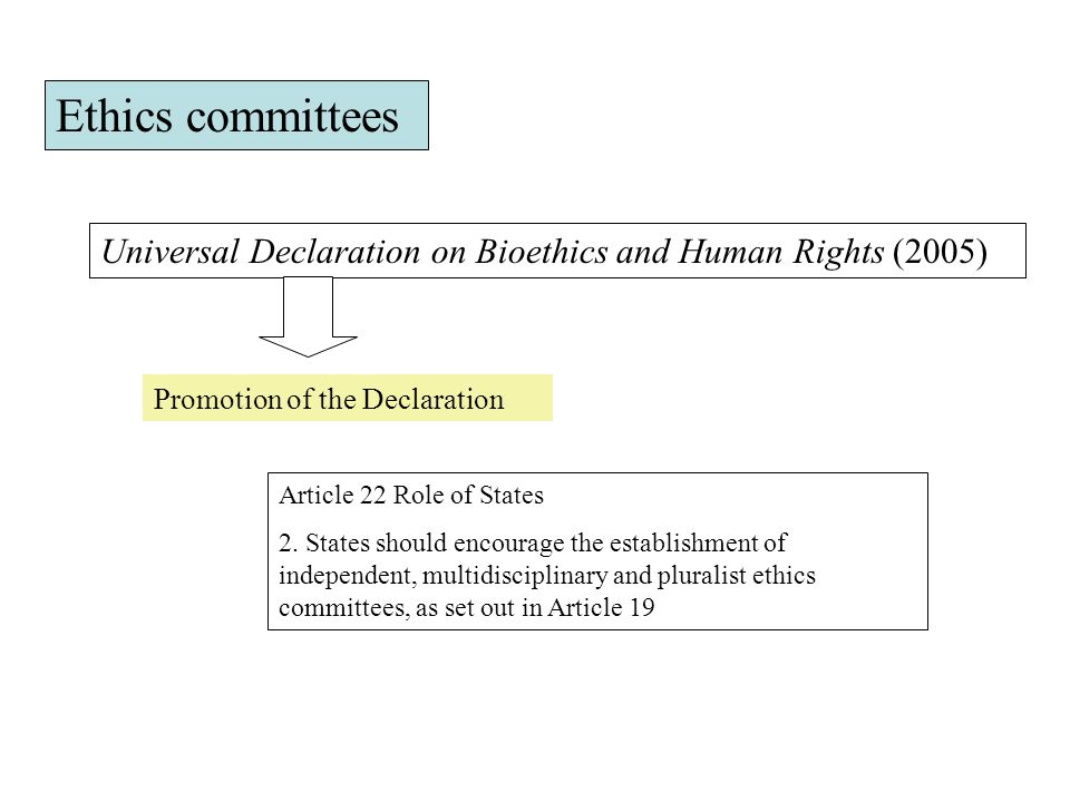 Universal Declaration on Bioethics and Human Rights (2005) Promotion of the Declaration Article 22 Role of States 2.