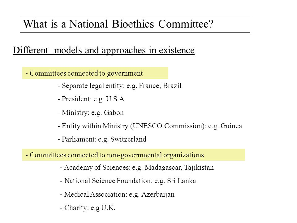 What is a National Bioethics Committee.