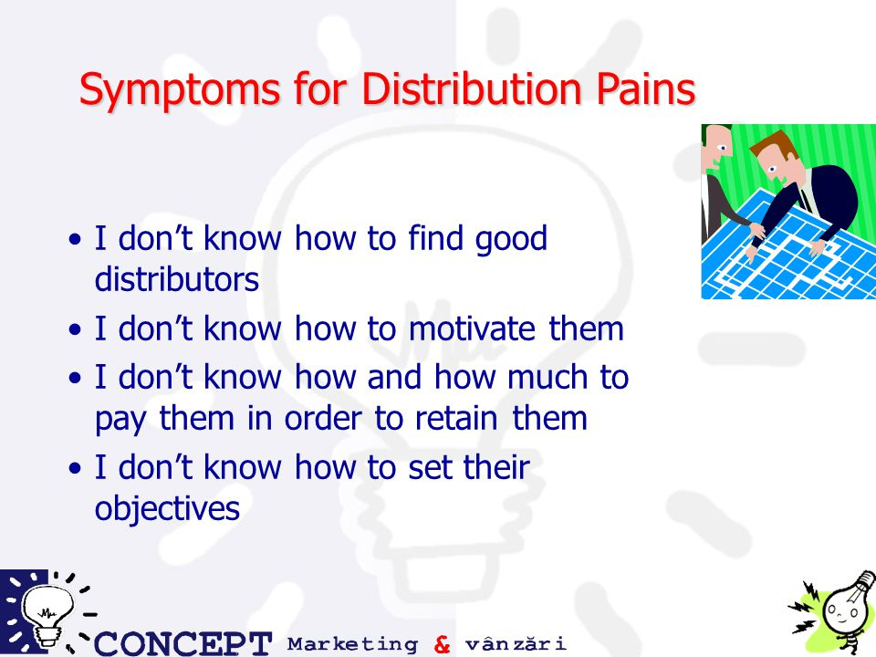 Symptoms for Distribution Pains I don't know how to find good distributors I don't know how to motivate them I don't know how and how much to pay them in order to retain them I don't know how to set their objectives