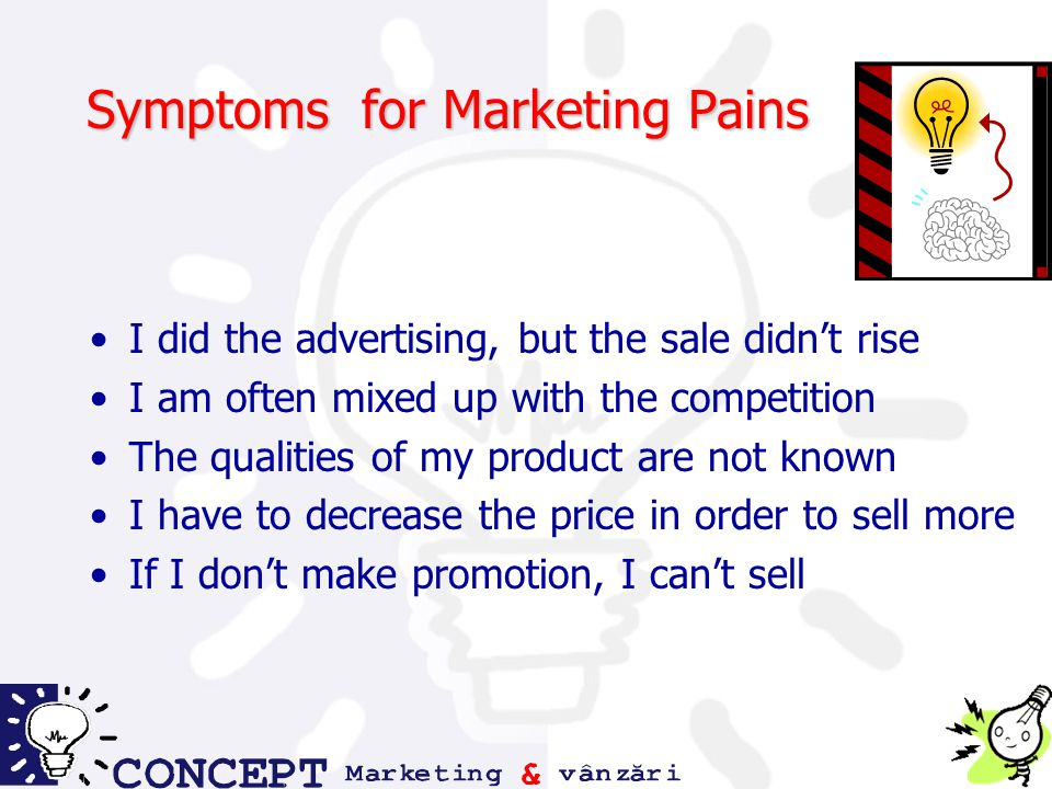 Symptoms for Marketing Pains I did the advertising, but the sale didn't rise I am often mixed up with the competition The qualities of my product are not known I have to decrease the price in order to sell more If I don't make promotion, I can't sell