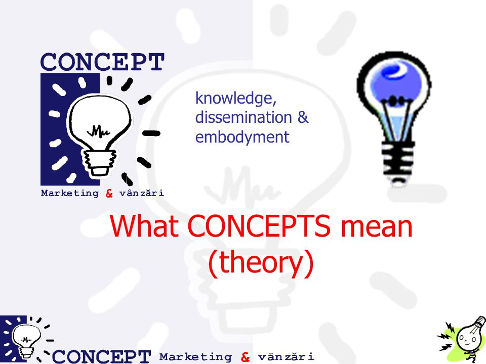 knowledge, dissemination & embodyment What CONCEPTS mean (theory)