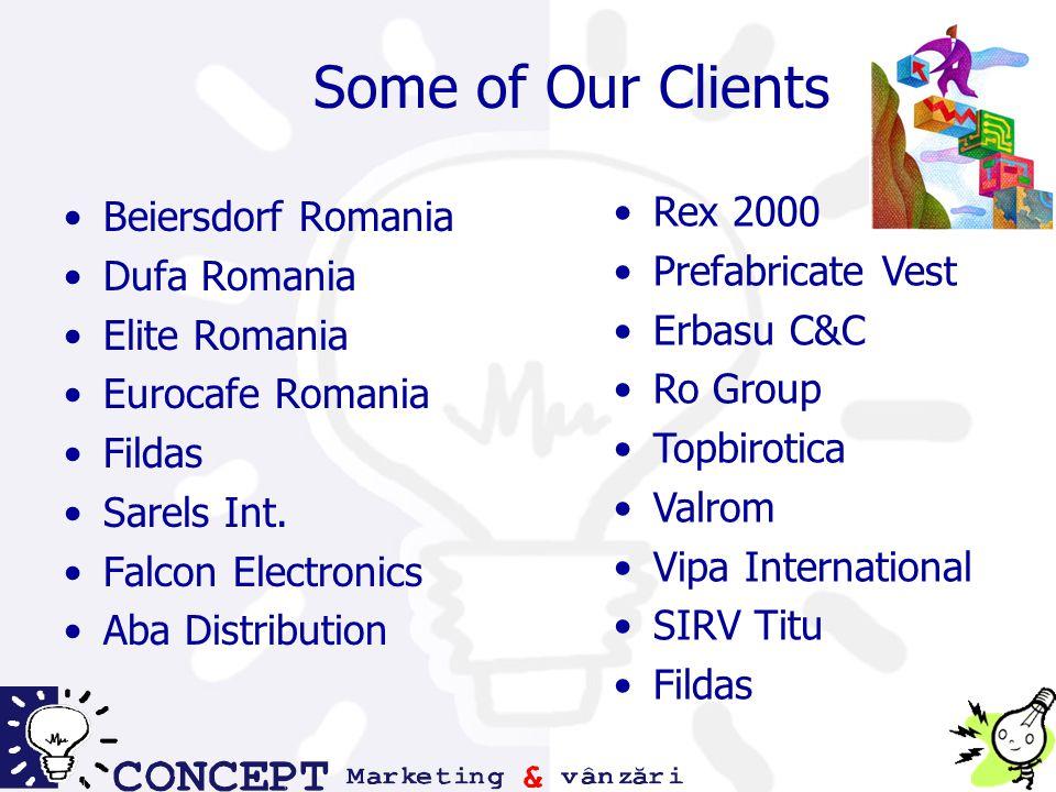 Some of Our Clients Rex 2000 Prefabricate Vest Erbasu C&C Ro Group Topbirotica Valrom Vipa International SIRV Titu Fildas Beiersdorf Romania Dufa Romania Elite Romania Eurocafe Romania Fildas Sarels Int.