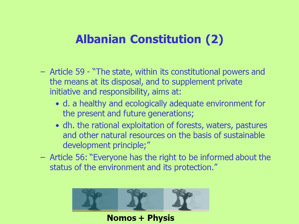 Albanian Constitution (2) –Article 59 - The state, within its constitutional powers and the means at its disposal, and to supplement private initiative and responsibility, aims at: d.