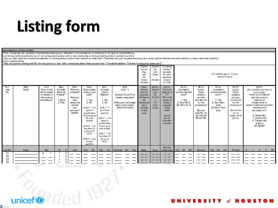 Listing form