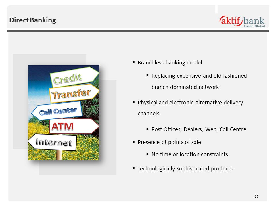 Direct Banking  Branchless banking model  Replacing expensive and old-fashioned branch dominated network  Physical and electronic alternative delivery channels  Post Offices, Dealers, Web, Call Centre  Presence at points of sale  No time or location constraints  Technologically sophisticated products 17
