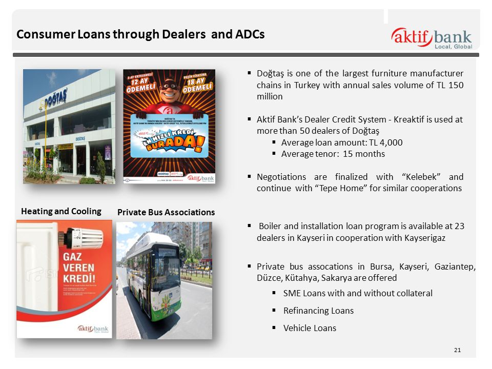 Consumer Loans through Dealers and ADCs  Doğtaş is one of the largest furniture manufacturer chains in Turkey with annual sales volume of TL 150 mill