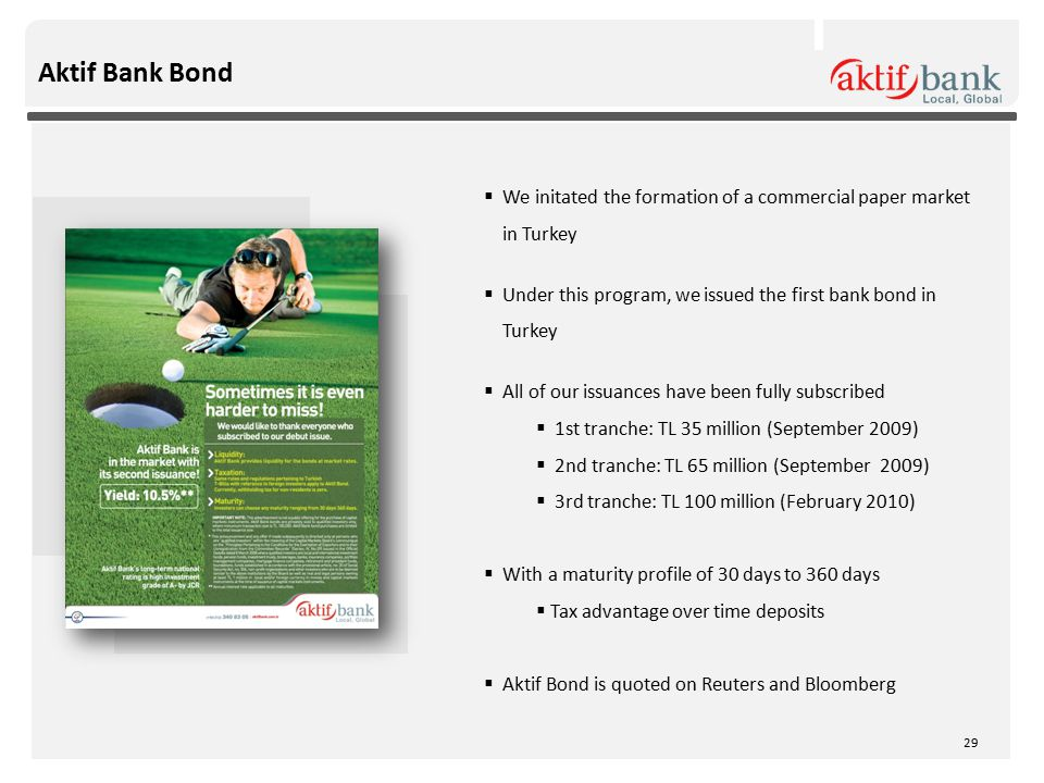  We initated the formation of a commercial paper market in Turkey  Under this program, we issued the first bank bond in Turkey  All of our issuances have been fully subscribed  1st tranche: TL 35 million (September 2009)  2nd tranche: TL 65 million (September 2009)  3rd tranche: TL 100 million (February 2010)  With a maturity profile of 30 days to 360 days  Tax advantage over time deposits  Aktif Bond is quoted on Reuters and Bloomberg Aktif Bank Bond 29