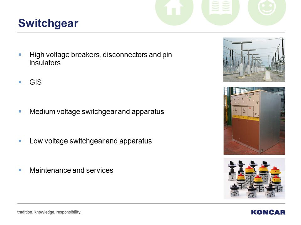 Switchgear  High voltage breakers, disconnectors and pin insulators  GIS  Medium voltage switchgear and apparatus  Low voltage switchgear and appa