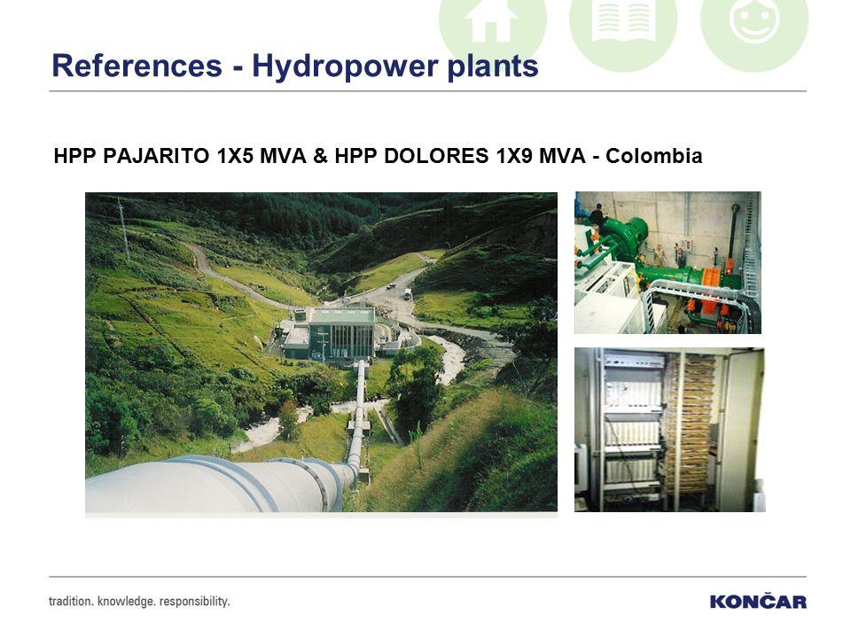 References - Hydropower plants HPP PAJARITO 1X5 MVA & HPP DOLORES 1X9 MVA - Colombia