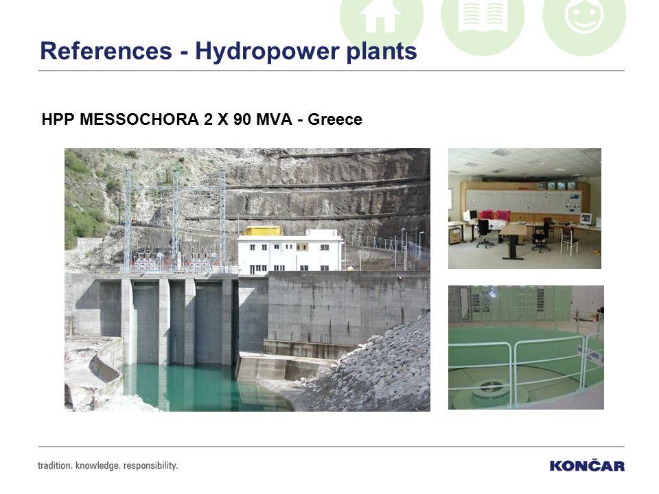 References - Hydropower plants HPP MESSOCHORA 2 X 90 MVA - Greece