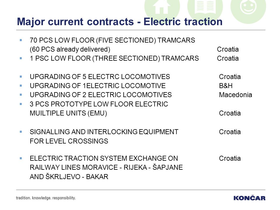 Major current contracts - Electric traction  70 PCS LOW FLOOR (FIVE SECTIONED) TRAMCARS (60 PCS already delivered) Croatia  1 PSC LOW FLOOR (THREE SECTIONED) TRAMCARS Croatia  UPGRADING OF 5 ELECTRC LOCOMOTIVES Croatia  UPGRADING OF 1ELECTRIC LOCOMOTIVE B&H  UPGRADING OF 2 ELECTRIC LOCOMOTIVES Macedonia  3 PCS PROTOTYPE LOW FLOOR ELECTRIC MUILTIPLE UNITS (EMU) Croatia  SIGNALLING AND INTERLOCKING EQUIPMENT Croatia FOR LEVEL CROSSINGS  ELECTRIC TRACTION SYSTEM EXCHANGE ON Croatia RAILWAY LINES MORAVICE - RIJEKA - ŠAPJANE AND ŠKRLJEVO - BAKAR
