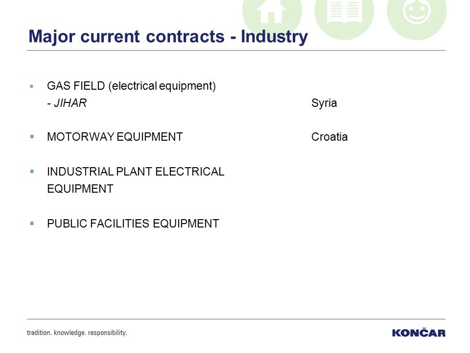 Major current contracts - Industry  GAS FIELD (electrical equipment) - JIHARSyria  MOTORWAY EQUIPMENT Croatia  INDUSTRIAL PLANT ELECTRICAL EQUIPMENT  PUBLIC FACILITIES EQUIPMENT
