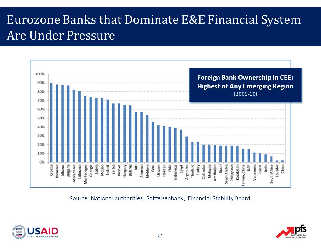 21 Eurozone Banks that Dominate E&E Financial System Are Under Pressure Source: National authorities, Raiffeisenbank, Financial Stability Board.