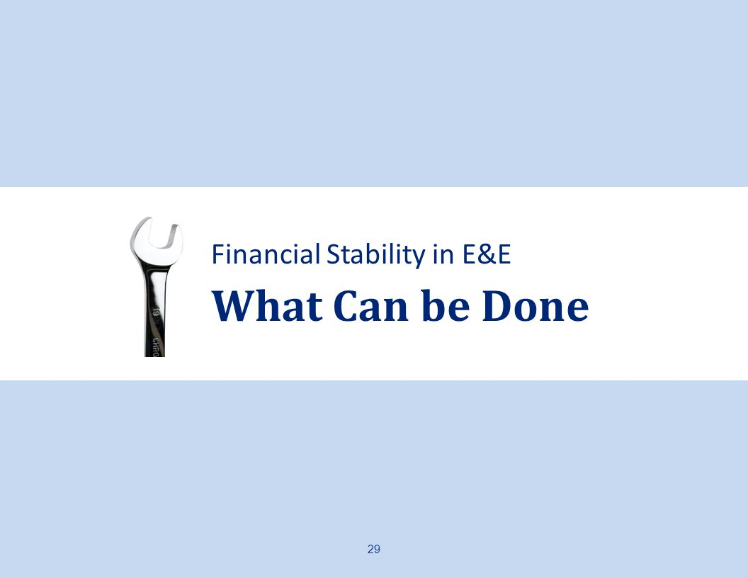 Financial Stability in E&E What Can be Done 29