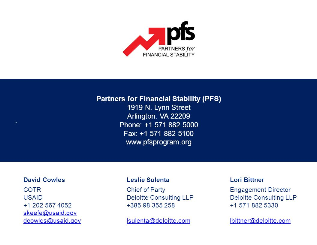 Partners for Financial Stability (PFS) 1919 N. Lynn Street Arlington.